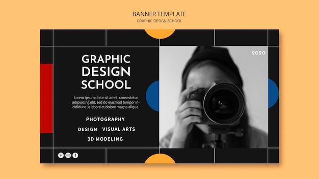 Modelo de banner escolar de design gráfico Psd grátis