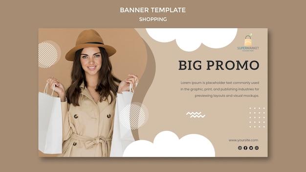 Modelo de banner grande promoção comercial Psd grátis