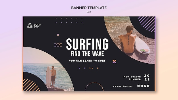 Modelo de banner horizontal de aulas de surf com foto Psd grátis