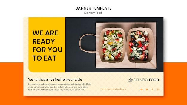 Modelo de banner horizontal de comida de entrega Psd grátis
