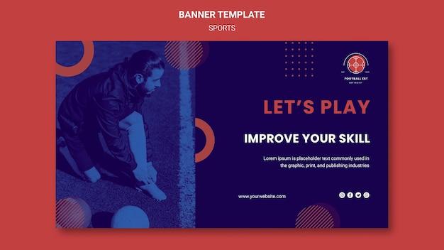 Modelo de banner horizontal de jogador de futebol com foto Psd grátis