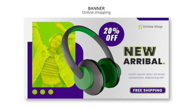 Modelo de banner horizontal de loja on-line de dispositivos nova chegada Psd grátis