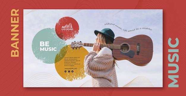 Modelo de banner horizontal de música com foto de menina segurando um violão Psd grátis