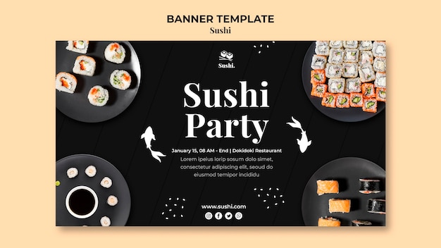 Modelo de banner horizontal de sushi com foto Psd Premium