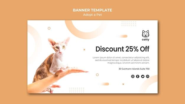 Modelo de banner horizontal para a adoção de um animal de estimação Psd grátis