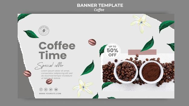 Modelo de banner horizontal para café Psd grátis