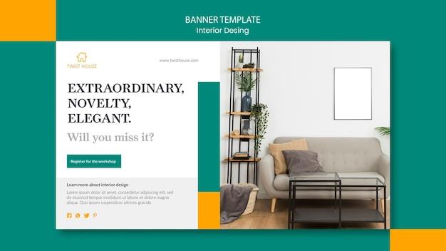 Modelo de banner horizontal para design de interiores Psd grátis