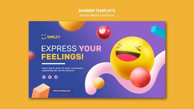 Modelo de banner horizontal para emoticons de aplicativos de mídia social Psd grátis