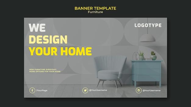 Modelo de banner horizontal para empresa de design de interiores Psd grátis