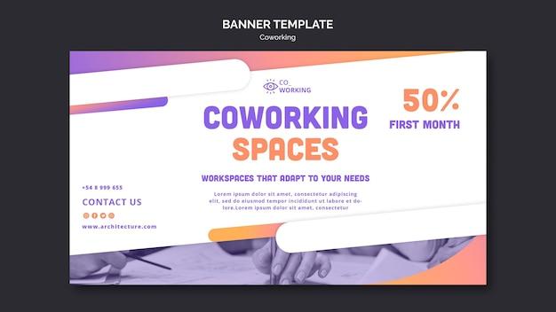 Modelo de banner horizontal para espaço de coworking Psd Premium