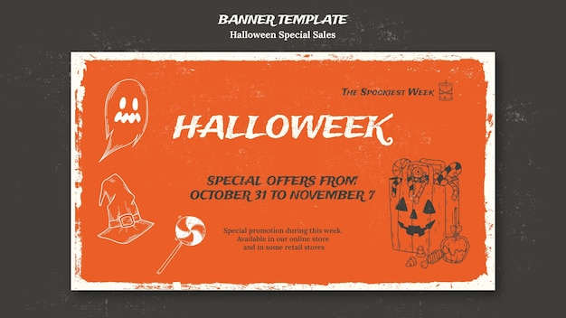 Modelo de banner horizontal para halloweek Psd grátis