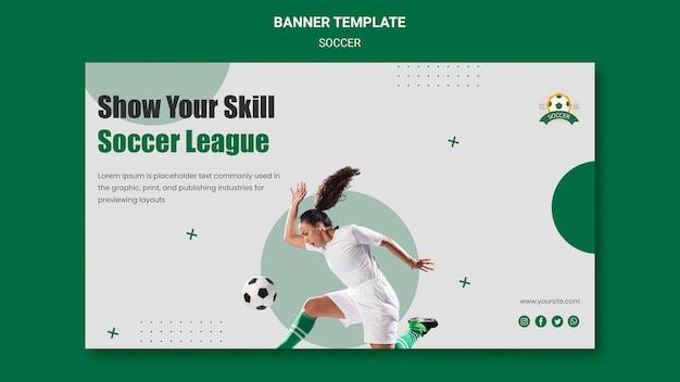 Modelo de banner horizontal para liga de futebol feminino Psd grátis