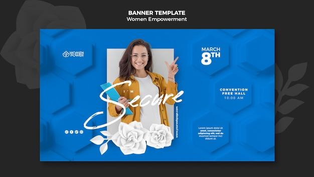 Modelo de banner horizontal para o empoderamento das mulheres com palavras de incentivo Psd grátis