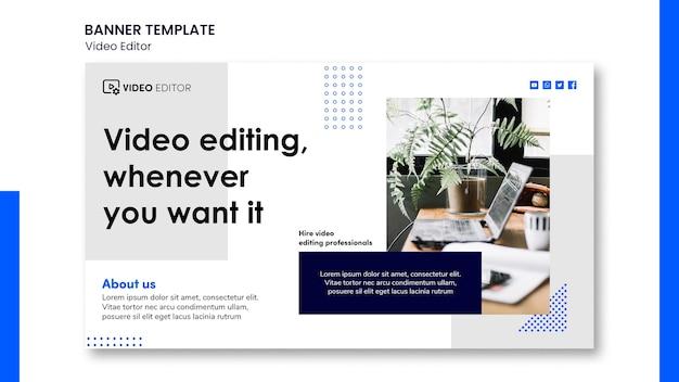 Modelo de banner horizontal para oficina de edição de vídeo Psd grátis