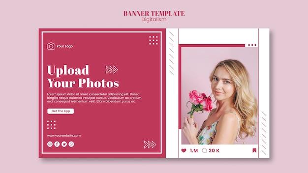 Modelo de banner horizontal para upload de fotos em mídias sociais Psd grátis