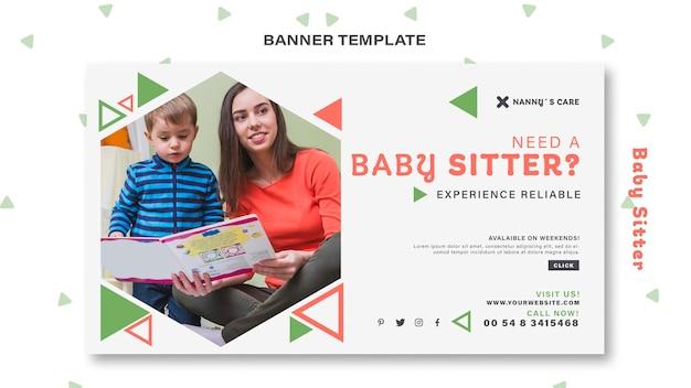 Modelo de banner para babá com criança Psd grátis