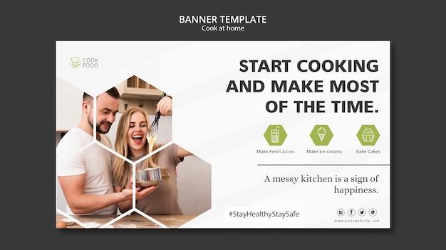 Modelo de banner para cozinhar em casa Psd grátis