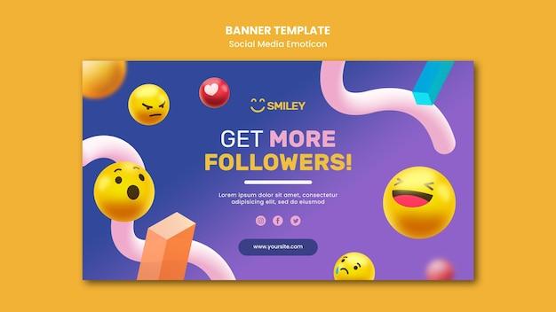 Modelo de banner para emoticons de aplicativos de mídia social Psd grátis