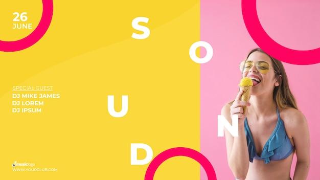 Modelo de banner para festival de som Psd grátis