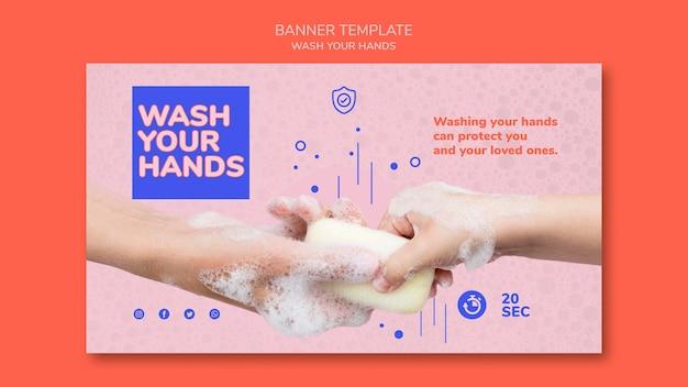 Modelo de banner para lavar as mãos Psd grátis