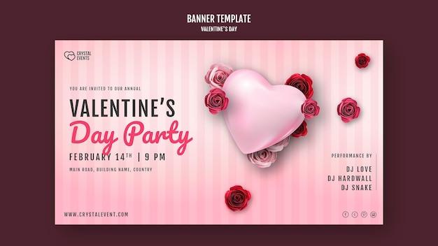 Modelo de banner para o dia dos namorados com coração e rosas vermelhas Psd Premium