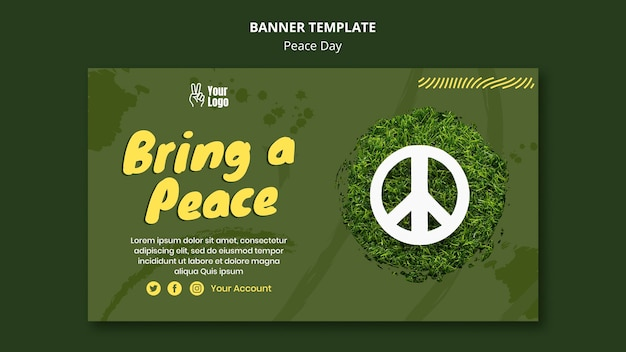Modelo de banner para o dia mundial da paz Psd grátis