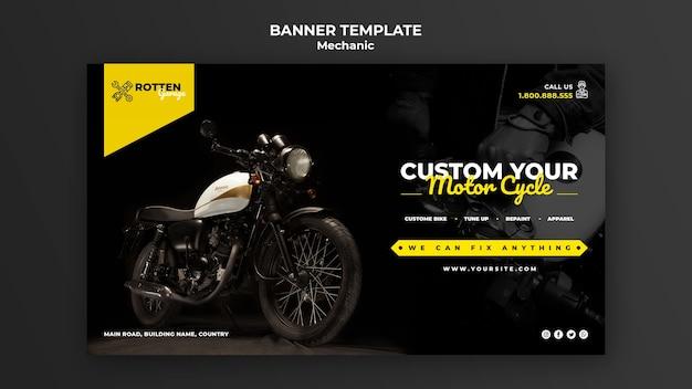 Modelo de banner para oficina de moto Psd Premium