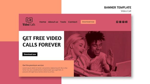 Modelo de banner para receber chamadas de vídeo gratuitas para sempre Psd grátis