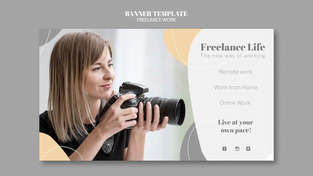 Modelo de banner para trabalho freelance com fotógrafa Psd grátis