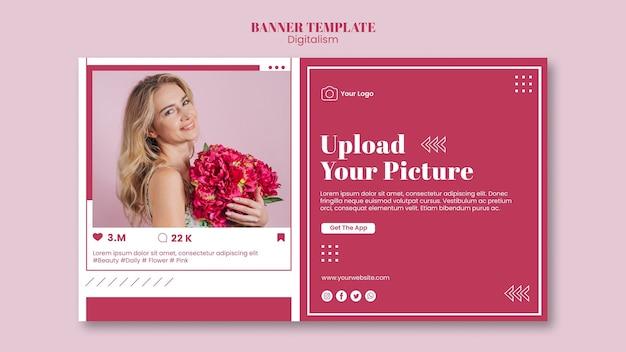 Modelo de banner para upload de fotos em mídias sociais Psd grátis