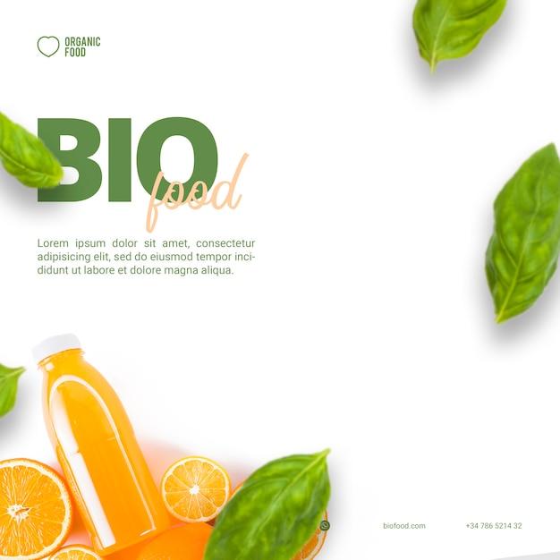 Modelo de banner quadrado de comida bio Psd grátis