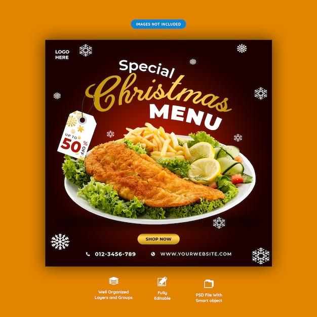 Modelo de banner quadrado de mídia social de menu de natal psd premium Psd Premium