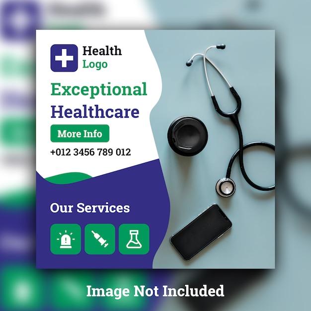 Modelo de banner quadrado de mídia social médica Psd Premium