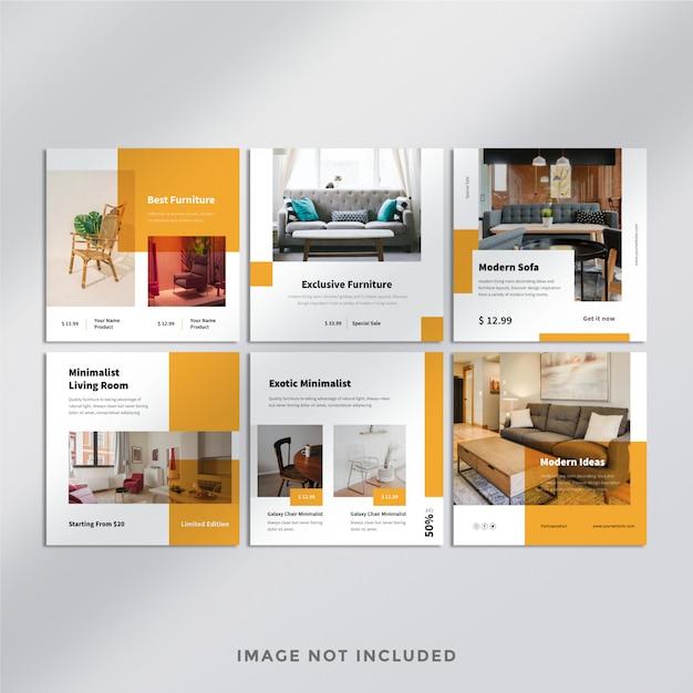 Modelo de banner quadrado de mobiliário minimalista Psd Premium