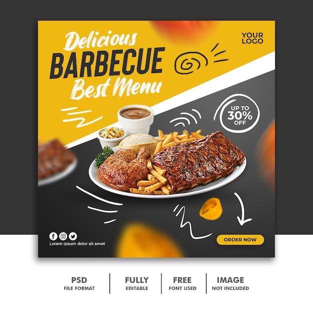 Modelo de banner quadrado de postagem nas mídias sociais para costelas especiais em cardápio de comida de restaurante Psd Premium