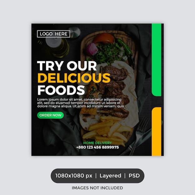 Modelo de banner quadrado de promoção de restaurante Psd Premium