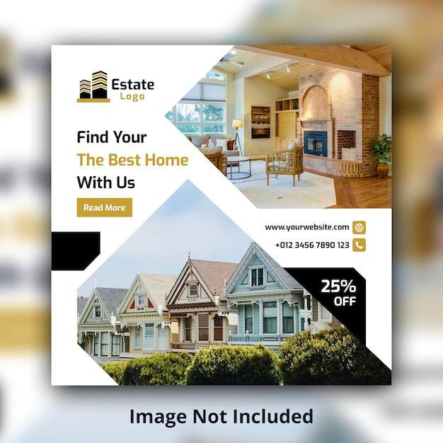 Modelo de banner quadrado imobiliário mídia social Psd Premium