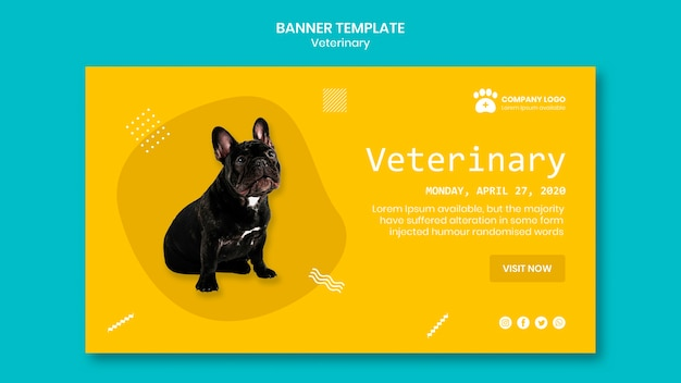 Modelo de banner veterinário com cachorro fofo Psd grátis