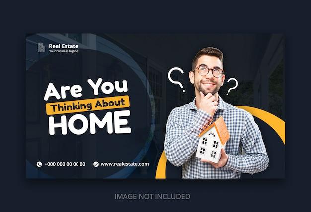 Modelo de banner web moderno para agências de negócios imobiliários Psd Premium