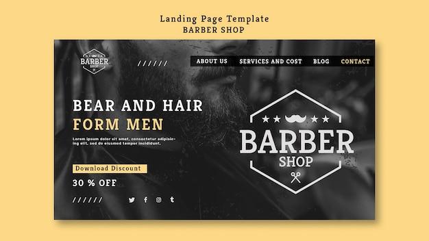 Modelo de barbearia da página de destino Psd grátis