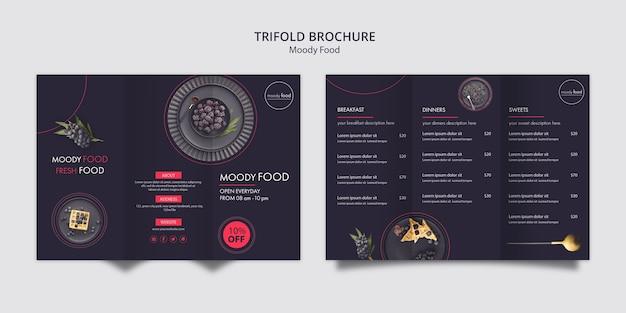 Modelo de brochura com três dobras de comida temperamental Psd grátis