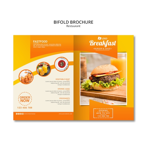 Modelo de brochura - restaurante bifold Psd grátis