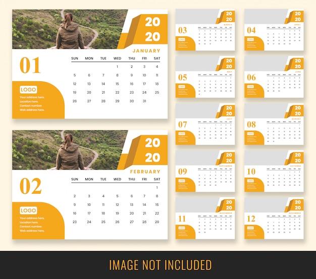Modelo de calendário de mesa 2020 Psd Premium