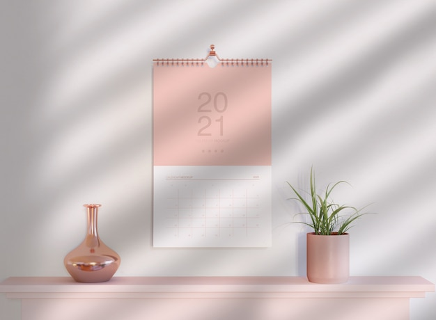Modelo de calendário em espiral pendurado na parede Psd Premium