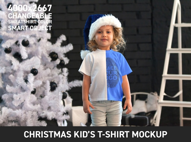Modelo de camiseta infantil de natal Psd grátis