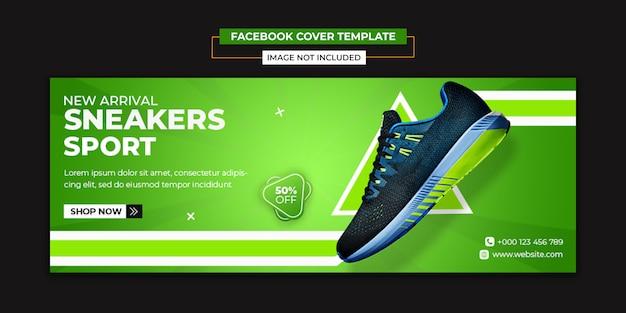 Modelo de capa de mídias sociais e facebook de sapatos esportivos Psd Premium
