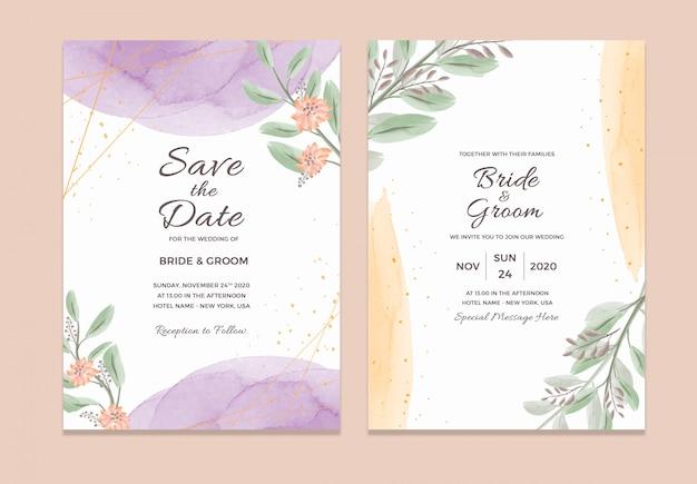 Modelo de cartão de convite de casamento com decorações em aquarela moldura floral Psd Premium