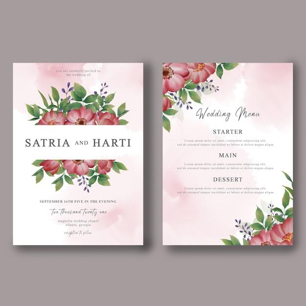 Modelo de cartão de convite de casamento e cartão de menu de casamento com decorações florais em aquarela Psd Premium