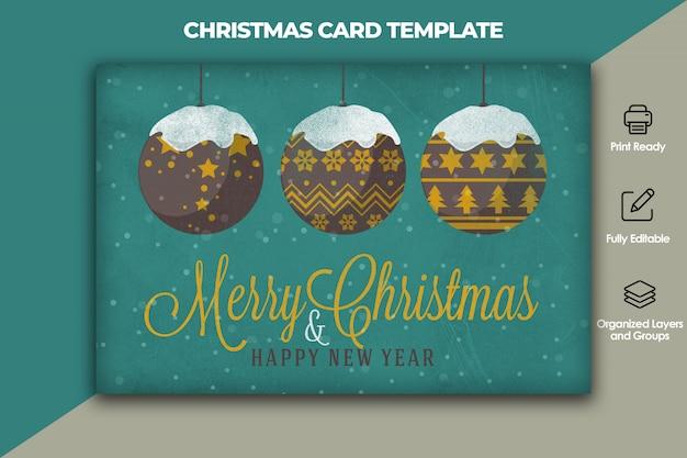 Modelo de cartão de natal e ano novo Psd Premium