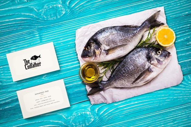 Modelo de cartão de negócios de restaurante de frutos do mar Psd Premium